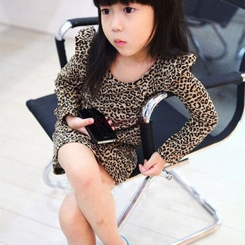 New Fashion Baby Girls Cute Leopard Print Cotton Long Sleeve O-Neck Princess Dress Child Clothes 20077|28001 Children's Clothing = 1929971268