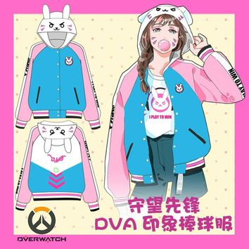 D.VA OW Bunny Pink and Blue Sweety Cosplay Hoody Free Shipping