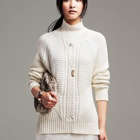 Banana Republic Mixed Cable Knit Pullover Size S - Cocoon