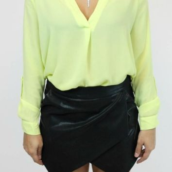 Basic High Low Blouse in Citron | Timing