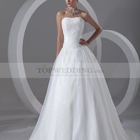 Strapless Organza over Satin A Line Wedding Dress with Sweep Train