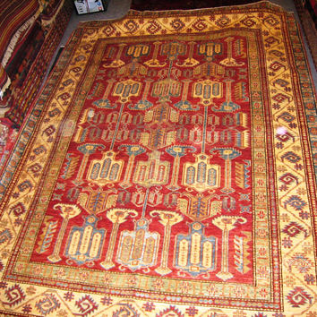PERSIAN ORIENTAL CARPET rug khazar bukhara afghan afghanistan 5x8 hand knotted 100% wool traditional bed living room red patu baluch new