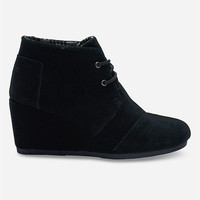 Toms Suede Womens Desert Wedges Black  In Sizes