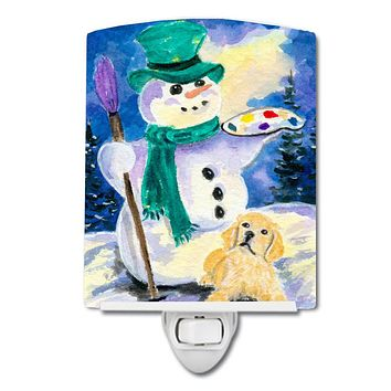 Snowman with Golden Retriever Ceramic Night Light SS8994CNL