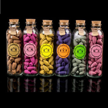 58pcs/Bottle Natural Backflow Incense Cone Grain Glass Bottle 11 Scents Tower India Incenses