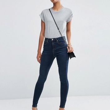 ASOS 'Sculpt Me' High Rise Premium Jeans in Sapphire Wash at asos.com
