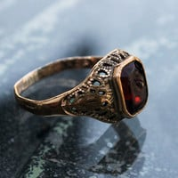 Art Deco Ring, Gold Filled with Red Stone, Signed Orlando