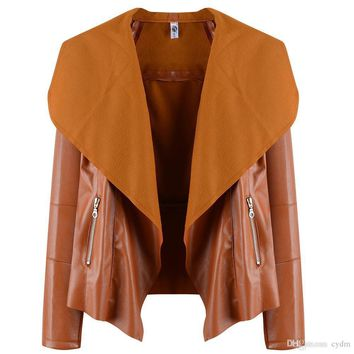2017 European and American fashion bursts of pure color cardigan large lapel long sleeve PU leather jacket