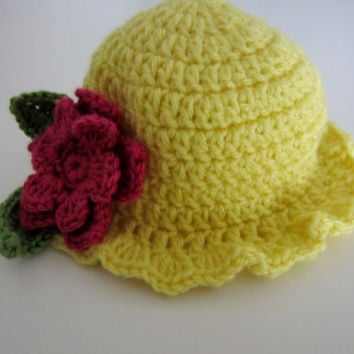 Crochet yellow sunhat with pink flower, yellow sunhat, crochet sunhat, girls sunhat, girls sunhat, yellow hat with flower, custom color