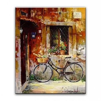 100% hand painted oil painting Home decoration high quality landscape knife painting pictures    DM160626010