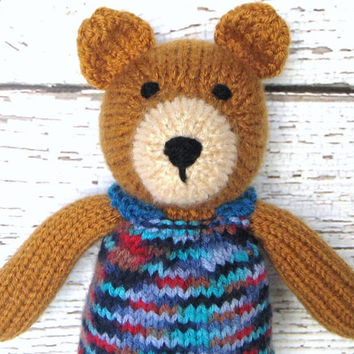 "Hand Knit Teddy Bear - Toddler Baby Gift - Plush Stuffed Bear Doll - Woodland Nursery - Kids Toy Child Toy - Stuffed Animal Bear 13"" Tall"
