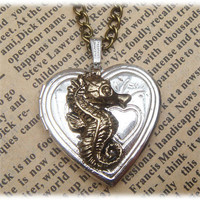 Steampunk Seahorse Locket Necklace Vintage Style by sallydesign