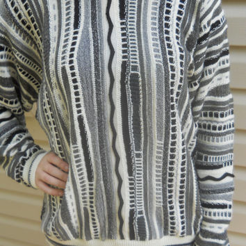 Vintage Coogi style oversized Unisex Hipster Cosby sweater in black white and gray size Men's medium, for large or XL juniors fit