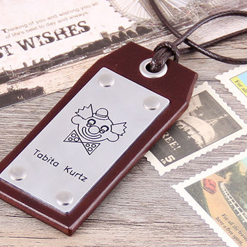 Personalized Leahter Luggage Tag -  Custom Travel Leather Luggage Tag - Clown Leather Tag - Anniversary, Groomsmen Luggage Tag