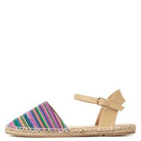 Multi Woven Stripe Ankle Strap Espadrille Flats by Charlotte Russe