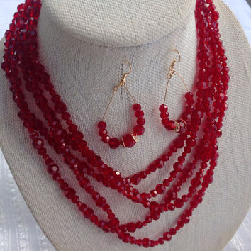 Red Crystal beads necklace set, Bridesmaid accessory, Gift for wife, Holiday Gift, Birthday present for best friend, 5 strand necklace