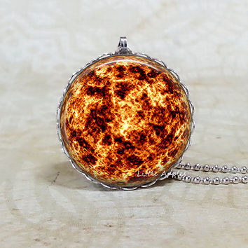 Sun silver lace necklace, orange brown, planet jewelry, solar system, astronomy