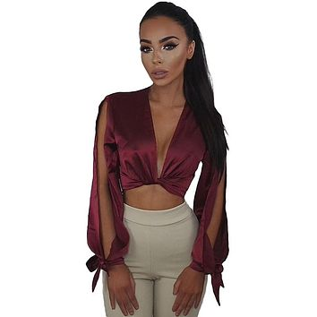 Hot Sale Deep V bow satin blouse shirt sexy crop top 2017 summer casual women blouses open sleeve cool cropped chemise clothing