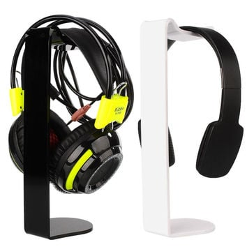 Acrylic Headset Hanger Holder Headphone Desk Display C-Shape Stand 250mm 2 Color Black/White