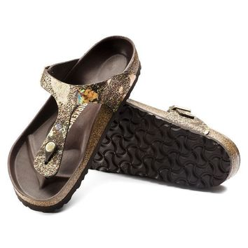 Sale Birkenstock Gizeh Lux Leather Spotted Metallic Brown 1006884 Sandals