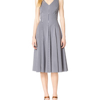 Women's Gingham Check Sleeveless A-Line Dress - Michael Kors - Opticwhite/Indigo (12)