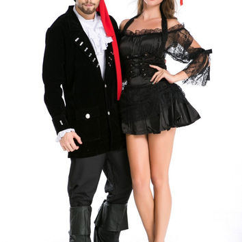 Halloween Black Club Couple Pirate Costume [9211508612]