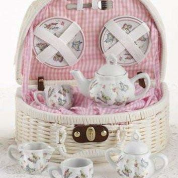 Childrens Porcelain Tea Set in Rounded Wicker Style Basket - Pink Butterfly - FREE TEA INCLUDED!