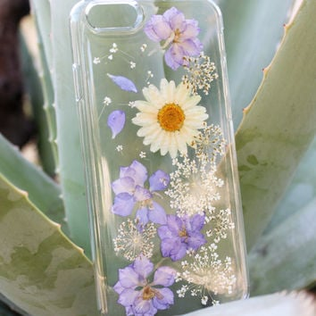 Pressed Flower Samsung Galaxy s3 - Flowers Samsung Galaxy s4 - Pressed Flower Samsung Galaxy S5 / S6 Edge and Plus Case - Purple White Daisy