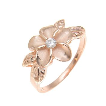 PINK ROSE SILVER 925 HAWAIIAN FANCY PLUMERIA FLOWER MAILE LEAF RING SIZE 3-10
