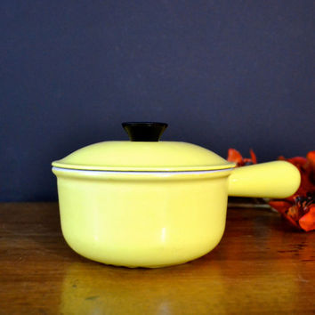 Le Creuset Sauce Pan, Yellow Cast Iron Le Creuset Saucepan, French Farmhouse Kitchenware, Yellow Enamel Pot