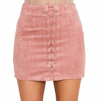 High Waist Lace Up Mini Skirt