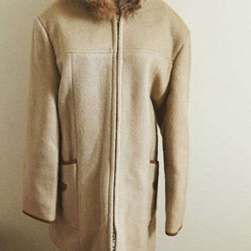 Vintage, Subzero, Wool, Coyote Fur, Made in Canada, Winter Coat, Boho, Taupe, Bohemian Style, Tribal, Plus Size