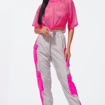 To the Moon Color Block Joggers Hot Pink