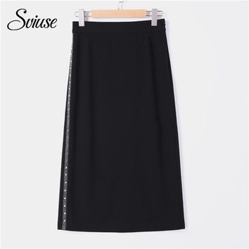Harajuku Black Maxi Long Skirt Women Sexy Split Striped Rivet Straight Skirt Female Casual Punk Korean Streetwear School Skirts