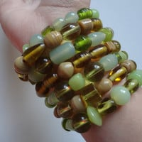 Handmade Glass Beaded Braclets Set of 7 Green Brown Tan