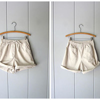 Drawstring Board Shorts 90s Elastic Waist Thin Cotton Shorts Natural Beige Shorts MOM Shorts Pockets Vintage Beach Shorts Women Medium 8P