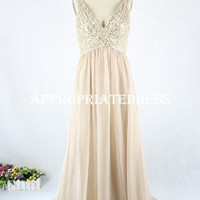 Deep V-neck Chiffon Sequin Bodice Real Sample Prom Dress/ Long Evening Dress