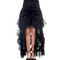 Mabel's Victorian Gothic Steampunk Waterfall Lace Maxi Skirt & Corset Waist Band
