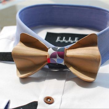 Fashion Carved Solid Wooden Bow Tie