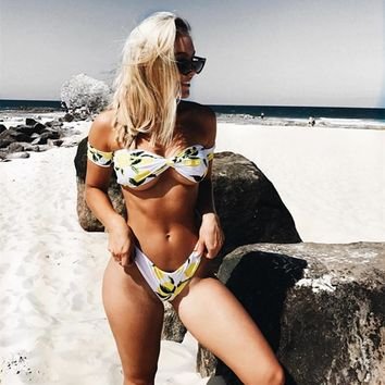 2019 Swimwear Sexy Women Off The Shoulder Bikini Set Fruits Print Swimsuit Brazilian Low Waist Beach Bathing Suit Bandeau Bikini