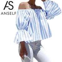 Anself Summer Off Shoulder Striped  Sexy Long Sleeve Crop Shirt