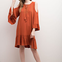 Apparel- Ellie Cold Shoulder Ruffled Hem Dress