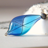 Harlequin  Hand Blown Glass Necklace  Blue Purple by Lightborn