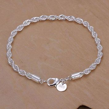 925 Sterling Silver Rope Chain Bracelet