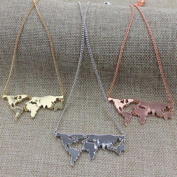 Women's Chain Necklaces Art World Map Exaggerated pendants necklace