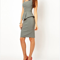 Gray Ruffled Sleeveless Knee-Length Dress