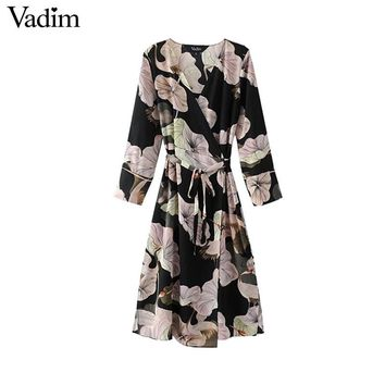 Vadim women vintage v neck floral wrap dress chic bow tie sashes side split long sleeve retro casual mid calf vestidos QZ3236