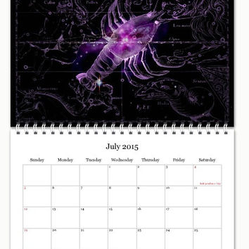 2015 Astrology Calendar, Zodiac Calendar, Constellation Calendar, Antique Astronomy Print