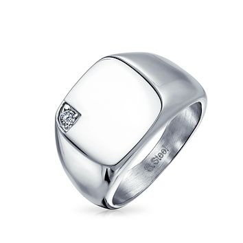 Mens CZ Accent Engravable Square Signet Ring Stainless Steel
