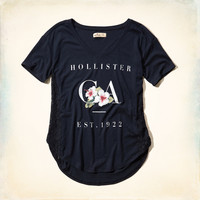Hollister Logo Lace Panel Graphic Tee